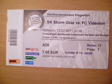 Champions League Ticket 13 JULY 2011 BUNDES LIGA - SK STURM GRAZ v FC VIDEOTON