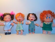 Lot Of 4 Vintage 1960's HOLIDAY FAIR Vinyl LAUGHING DOLLS & CLOTHES Japan HK