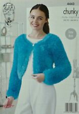 KNITTING PATTERN Ladies Easy Round Neck Boleros Tinsel Chunky King Cole 4443