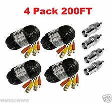 (4) New 200ft BNC CCTV Video Power Cable CCD Security Camera DVR Wire Cord