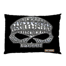 skull harley davidson zippered pillow case size 18'' x 26'' two side