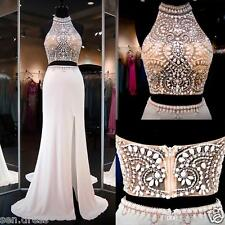 White Halter Two Pieces Prom Dresses Rhinestone Beads Party Evening Gowns Custom