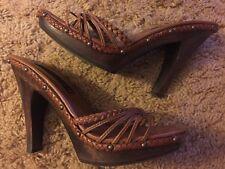 Steve Madden Brown Leather High Heel Shoes/slides Size 9