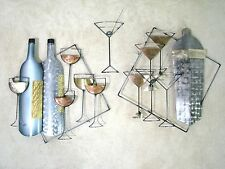 "Three Part Signed Curtis Jere Wall Sculpture ""Cocktails""; Martini & Wine Glasses"