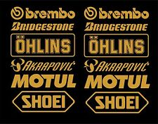 Bellypan Decals Stickers Brembo Öhlins Akrapovic Race Trac Set 3 GOLD Bellypan