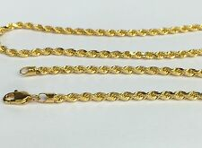 18k Solid Yellow Gold unisex Italian Rope Chain Necklace, 16inches, 6.70Grams