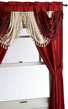 "Luxurious AMORE Panel w attached valance 5 pc.window curtain set  burgundy 63"" L"