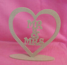 4mm thick MDF Wooden Mr & Mrs Standing heart  Plaque, craft blank