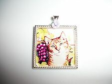 JEWELRY NECKLACE PENDANT 25x25mm CAMEO CABOCHON KITTY CAT LOOKING AT GRAPES OOAK
