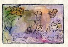 étrange activité  - aquarelle et encre sur papier chiffon