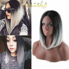 2016 Women Fashion Middle Part Wigs Black and Grey Ombre Hair Straight Full Wig