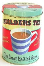 Martin Wiscombe Builders Tea Round Storage Tin Canister Retro Design New
