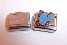 BLUE BUTTERFLY 9mm Italian Charm + 1x Genuine Nomination Classic Link N6 MARCH