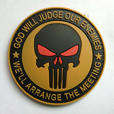 PUNISHER SKULL GOD WILL JUDGE OUR ENEMIES 3D PVC RUBBER TACTICAL HOOK LOOP PATCH