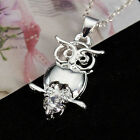 Lovely Cute Silver Women Owl Pendant Necklace Charms Crystal Jewelry New