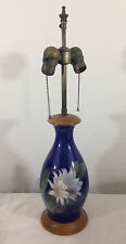 Royal Copenhagen Porcelain Handpainted Electric Lamp Cobalt Blue Cactus Flower