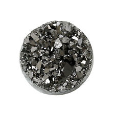 10 Round Resin Metallic Dark Silver Grey Black DRUZY CABOCHONS, 12mm cab0195a