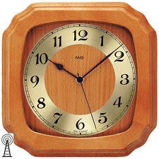AMS Wanduhr 5866/9, Funkuhr, Küchenuhr, Massivholz, Kirschbaumfarben lackiert