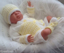 Knitting Pattern 49 TO KNIT Newborn Reborn Baby Cardigan, Hat, Bootees Trousers