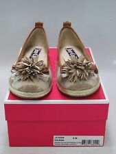 JUICY COUTURE Womens GIANNA STRIPED Natural Hemp/Gold Leather Flats US-9M