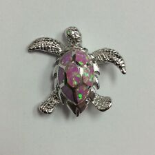REAL STERLING SILVER Sea Turtle w/ Pink Mystic Opal PENDANT 9.7g