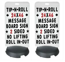 TWO (2) STANDARD WHITE TIP 'N ROLL SIDEWALK MESSAGE BOARD SIGN SAME DAY SHIP