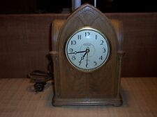 VINTAGE INGRAHAM GOTHIC CATHEDRAL STRIKE ELECTRIC SELF STARTING WOODEN CLOCK