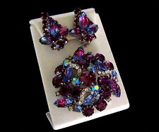 Vintage Book Pc Madeleine Purple & Blue Watermelon Earrings & Brooch