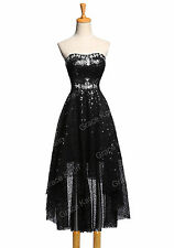 Strapless Sequins High-Low Ball Gown Cocktail Evening Prom Party Dress Plus Size