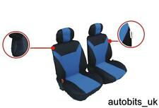 UNIVERSAL FRONT BLUE BLACK FABRIC SEAT COVERS CAR VAN MOTORHOME BUS MPV TRUCK