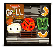 GRILL WOODEN SLICE & SORT PLAY FOOD SET-17 pc  Melissa & and Doug Item #4024