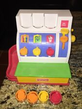 1994 FISHER PRICE VINTAGE Working CASH REGISTER w 4 COINS EUC (CN)