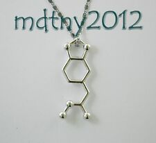 Silver Plated MDMA molecule pendant necklace chemistry jewelry