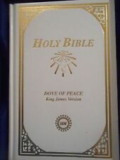 White Holy Bible, Dove of Peace KJV, United, UAW, in keepsake box, poem EUC 1991