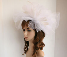 New Church Kentucky Derby Luxurious Fascinator w Feathers Coctail hat White