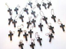 Wholesale Lot of 50 Wood Cross Keychains, Dark Brown