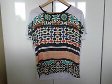 BNWT, ZARA, W/B COLLECTION, PATTERNED, PRINTED T-SHIRT TOP, SIZE SMALL S