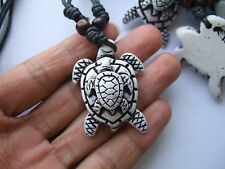 1pcs Wax Cord Yak Bone Resin Double Tortoise Turtle Charms Pendants Necklaces