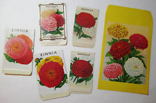 SUPER Lot of 6 - Burt's ZINNIA  Seed Packet Envelopes LG 9 1/2 x 5 3/4 etc Litho