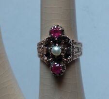 ANTIQUE ORNATE VICTORIAN 14K GOLD RUBY AND PEARL RING SIZE 5.5