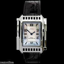 XEZO UNISEX ARCHITECT WHITE MOTHER OF PEARL SWISS MADE WATCH. GENUINE LEATHER.