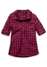 Women's Oakley Cairn Flannel Woven L/S Shirt Magenta Purple Size XS