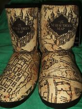New Womens L 9-10 Harry Potter The Marauders Map Design Plush Boot Slippers Shoe