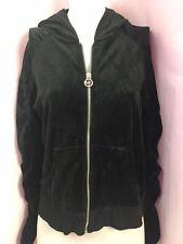 Michael Kors Black Velour Zip Front Hoodie, Women's Size M