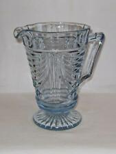 Vintage Art Deco Light Blue Pressed Glass Water Jug : Sowerby Pattern 2550