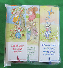 144 Woodland Creatures Bookmarks, with Bible Text, coloured tassel
