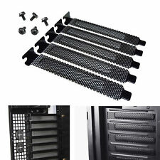 5 Pcs PCI Slot Cover Dust Filter Blanking Plate Hard Steel Black With Screws