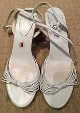 OASIS White Kitten Heel Strappy Shoes Size 8