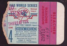 1960 Yankees vs Pirates World Series Game 4 Ticket Stub Skowron HR Vern Law WP