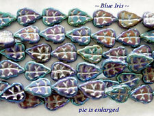 25 Unique Blue Iris Czech Glass Leaf Beads
